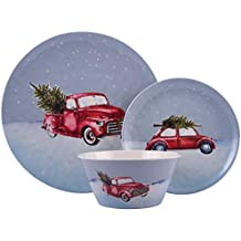 """Melange 608410091481 12-Piece 100% Dinnerware Set for 4 Christmas Collection-Tree on Van Shatter-Proof and Chip-Resistant Melamine Dinner Plate, Salad Plate & Soup Bowl (4 Each), 10.5"""", White"""