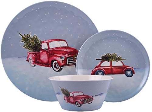 Melange 608410091481 12-Piece 100% Dinnerware Set for 4 Christmas Collection-Tree on Van Shatter-Proof and Chip-Resistant Melamine Dinner Plate, Salad Plate & Soup Bowl (4 Each), 10.5