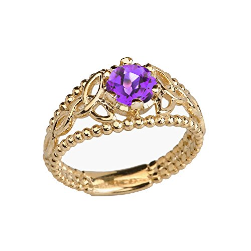 14k Yellow Gold Modern Beaded Celtic Trinity Knot Engagement Ring with Genuine Amethyst (Size 9.5)