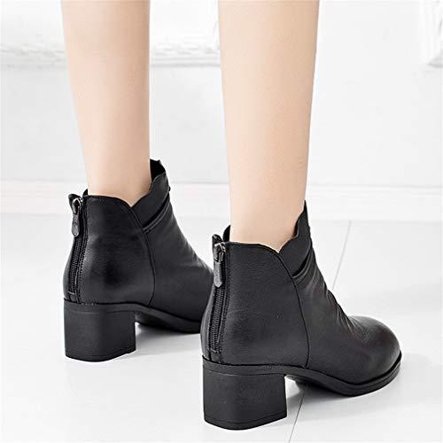 Puntiaguda Negro tobillo De Botas Mujer Para Británico Bota Zapatos Tacón Cremallera Alto Desnuda Mujer botas Costura Zapatillas Yan Moda Sólida Bloque Trabajo q0gw1xFF