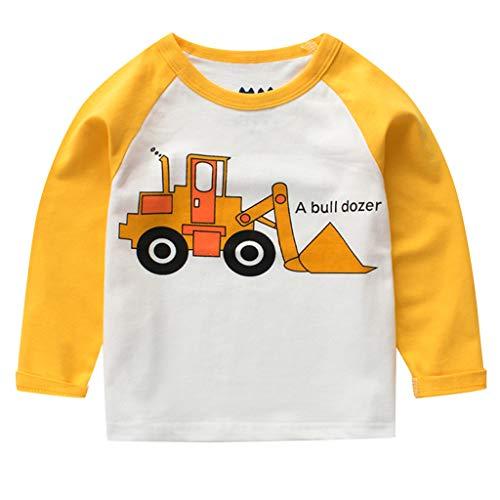 Baby Boys' T-Shirts,Crytech Toddler Kids Long Sleeve Organic Crew Neck Cartoon Car Dinosaur Bear Tiger Animal Pattern Graphic Tee Shirt Autumn Winter Tops Clothes 1T-7T (1-2 Years, Yellow)