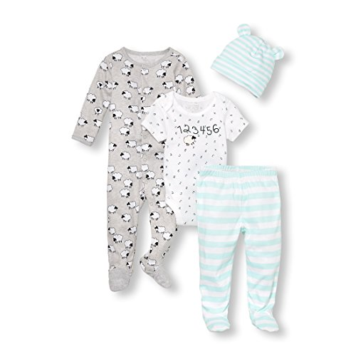- The Children's Place Boys' Infant Unisex Baby Counting Sheep Take-Me-Home 4-Piece Set, Heather/T Lunar, 0-3MONTHS