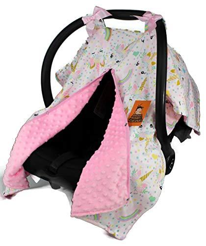 Dear Baby Gear Baby Car Seat Canopy, Unicorn Rainbows Glitter on Pink, Pink Minky