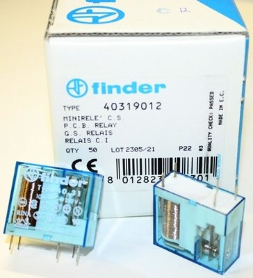 Finder 0-250V 12A, SPDT Plug-in Power Relay with 12v DC Coil