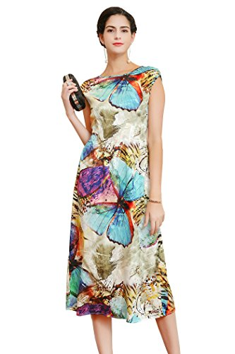 Silk Butterfly Print Dress - 9