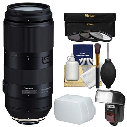 Tamron 100-400mm f/4.5-6.3 Di VC USD Zoom Lens with 3 UV/CPL/ND8 Filters + Flash & Diffuser Kit for Canon EOS Digital SLR Cameras