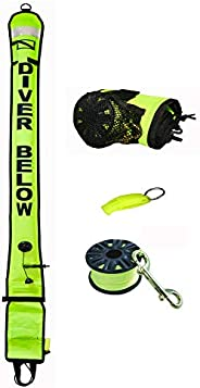 DiveSmart 6ft Scuba Diving Open Bottom Surface Marker Buoy (SMB) with High Visibility Reflective Band, Strobe