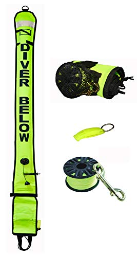 (DiveSmart 6ft Scuba Diving Open Bottom Surface Marker Buoy (SMB) with High Visibility Reflective Band, Strobe Light or Flashlight Holder, 100ft Finger Spool ABS Dive Reel and Whistle (cYellow))