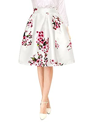 Allegra K Women's Vintage Floral Prints High Waist Pleated A Line Midi Skirt