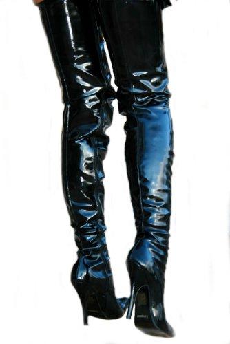 Pour Crotch Overkneestiefel Erogance Lack Noir Escarpins Femme q8wAaAI5