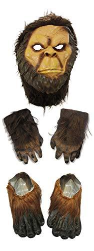 Big Foot Sasquatch Brown Hairy Mask Hands Feet Costume Halloween Accessory -