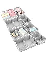 mDesign Soft Fabric Dresser Drawer and Closet Storage Organizer Set for Child/Kids Room, Nursery, Playroom, Bedroom - Rectangular Organizer Bins with Textured Print - Set of 8 - Gray/White