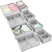 mDesign Soft Fabric Dresser Drawer and Closet Storage Organizer Set for Child/Kids Room, Nursery, Playroom, Be