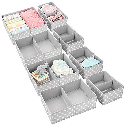 mDesign Soft Fabric Dresser Drawer and Closet Storage Organizer Set for Child/Kids Room, Nursery, Playroom, Bedroom – Rectangular Organizer Bins with Textured Print – Set of 8 – Gray/White