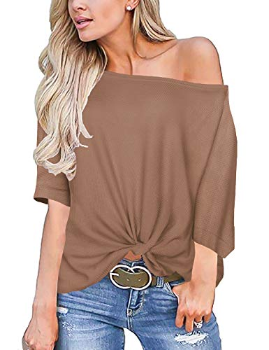 Womens Tops Short Sleeve Off The Shoulder Shirts Tie Knot Front Waffle Knit Shirts Coffee L