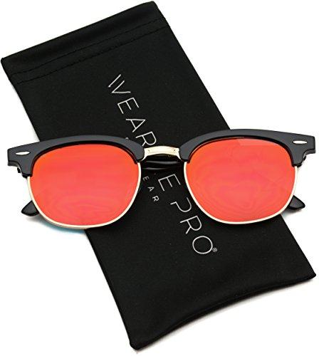 WearMe Pro - Half Frame Retro Semi-Rimless Style Sunglasses Retro Mirror Lens ()
