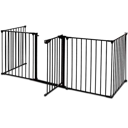 Tangkula Fireplace Fence Baby Safety Fence Hearth Gate Multi-Functional Fence with Walk Through Door Gate BBQ Metal Fire Gate Pet Dog Cat Christmas Tree Fence from Tangkula