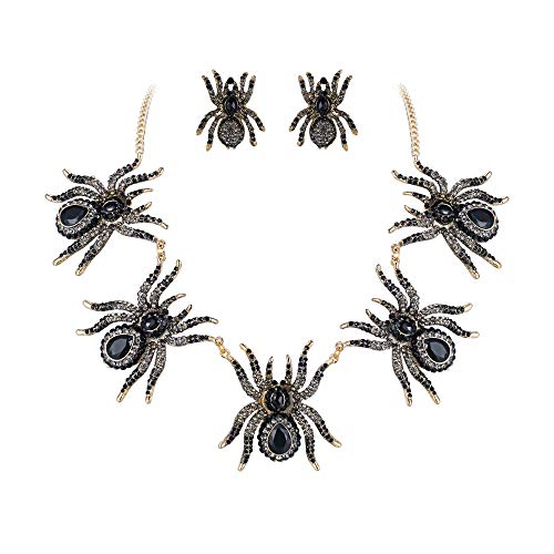 EVER FAITH Austrian Crystal 5 Spider Insect Necklace Earrings Set Black Gold-Tone