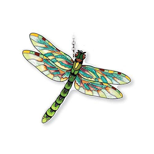 Amia Hand-Painted Glass Dragonfly Suncatcher - Green, Flame - Painted Hand Glass Suncatcher