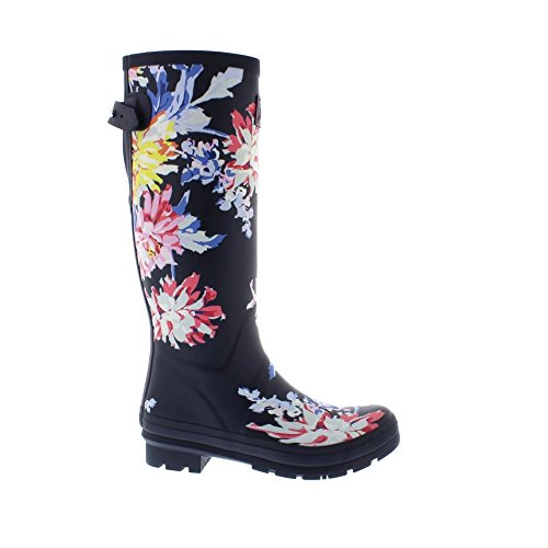 Joules Donna Welly Stampa Rain Boot Navy Whitstable Floreale