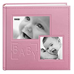 """This sewn leatherette cover album features a frame collage and embossed """"Baby"""" design. The album holds 200 photos up to 4""""x6"""" in optically clear pockets with shaded paper backgrounds and memo writing areas. Photos are displayed two per page. ..."""