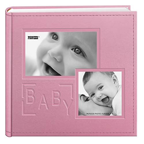 Pioneer Photo Albums 200-Pocket Embossed Baby Leatherette Frame Cover Album for 4 by 6-Inch Prints, Pink (Album Pretty Baby)