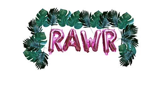 Dinosaur Pink RAWR Balloons and Leave Garland by PinkFish Shop 24 Tropical Leaves with Pink Mylar Balloons Party Decorations for Girly ()
