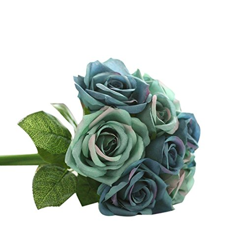 Dusty Blue Silk (Iuhan 9 Heads Artificial Silk Fake Flowers Leaf Rose Wedding Floral Decor Bouquet (Dark)