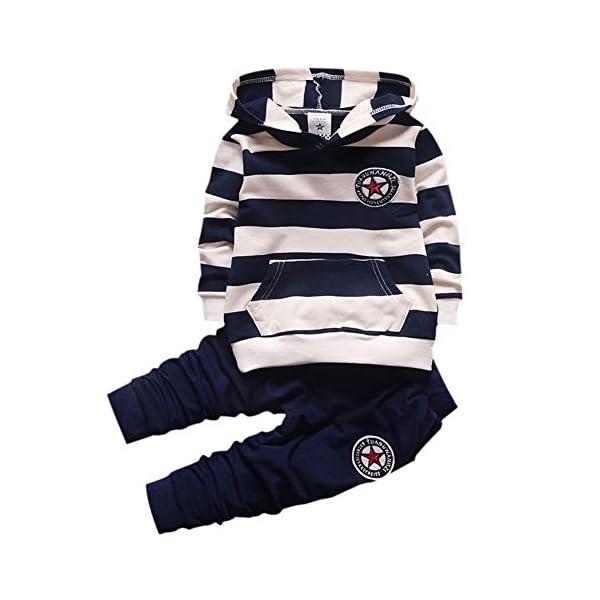 Wongfon Ragazzi Abbigliamento Sportivo Abbigliamento, Ragazzi T-Shirt a Righe con Cappuccio Manica Lunga Tute Pullover… 1