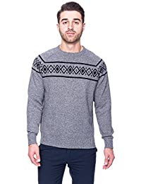 Tocco Reale Gift Packaged Men's 100% Cotton Crew Neck Sweater with Fair Isle Stripe