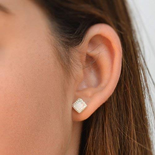 925 sterling Silver Earring White Opal Stone Handmade Earrings Stud Silver Earrings