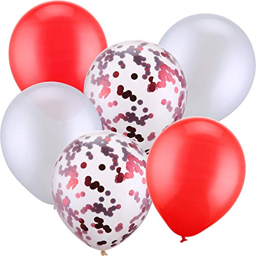 Red White Balloons (Jovitec 30 Pieces 12 Inches Latex Balloons Confetti Balloons Metallic Balloons for Wedding Birthday Party Decoration (White and)