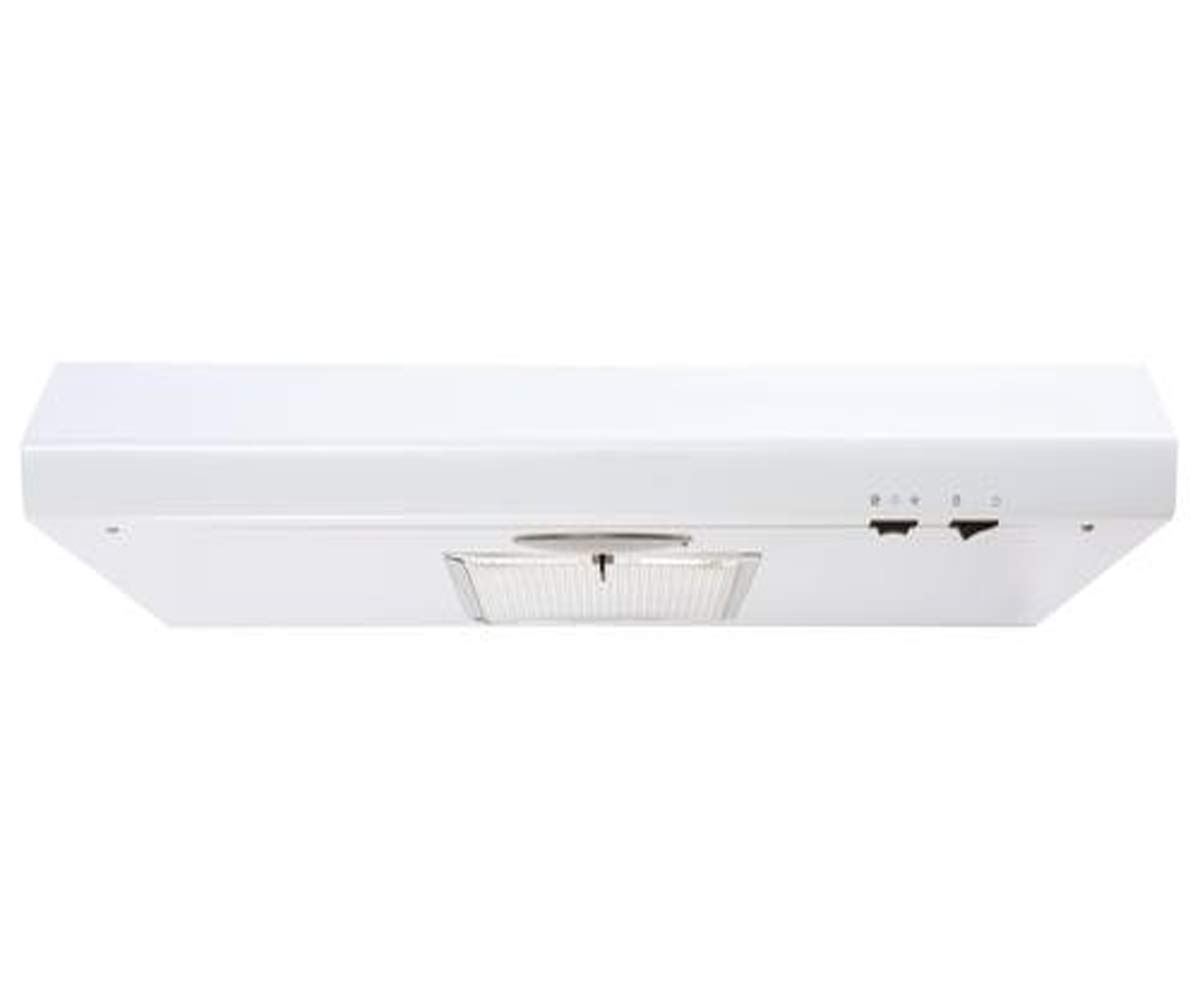 Undercabinet 160 CFM Range Hood with Convertible Vent, Mechanical Control Type and 2 Speed Fan - Indoor and Outdoor Venting - Aluminum and Charcoal Filter - 18''L x 29''W x 4''H (High Gloss White)