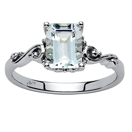 Emerald-Cut Genuine Aquamarine 10k White Gold Ring