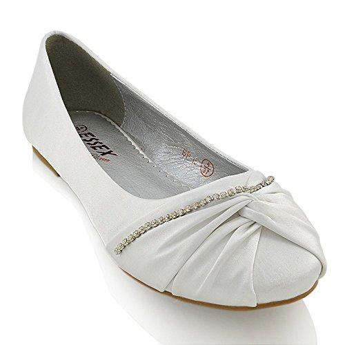 Essex Glam Damen Brautschuhe Klassische Ballerinas Flach Satin Pumps Mit Strass Hochzeit Schuhe White Satin