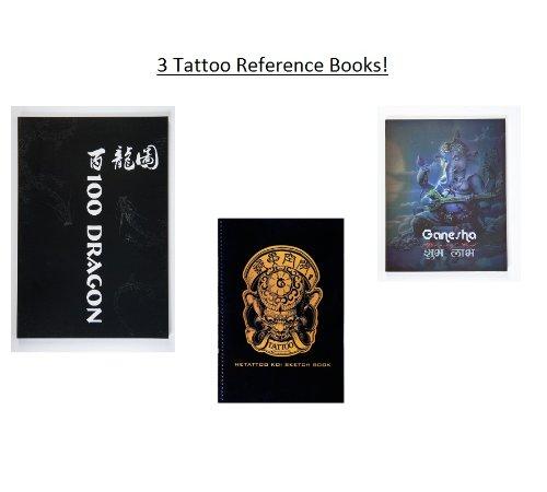 Lot Of 3 Tattoo Reference/Sketch Books - 100 Dragons, Hetattoo Koi Sketchbook & Ganesha Sketchbook ()