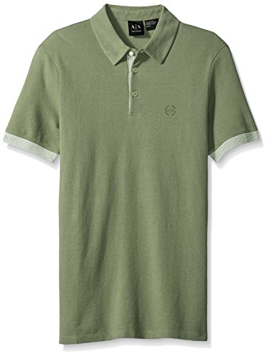 A|X Armani Exchange Men's Core Striped Tipped Polo, True Sage, Medium