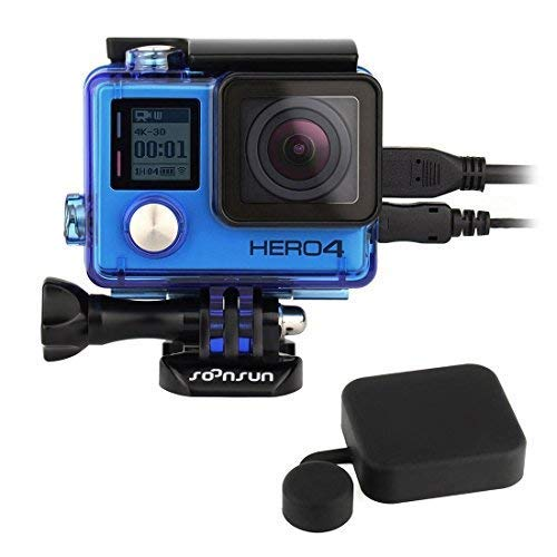 (SOONSUN Side Open Protective Skeleton Housing Case with LCD Touch Backdoor and Silicone Lens Cap Cover for GoPro Hero 4, Hero3+, Hero 3 Camera - Transparent Blue)