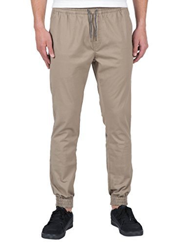 Slim Cotton Polyester - Volcom Men's Frickin Slim Jogger Pant, Khaki, Medium