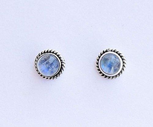 925 Sterling Silver Rainbow Moonstone Stud Post Earring Gemstone Earring 6 MM Round Girl Women Gift