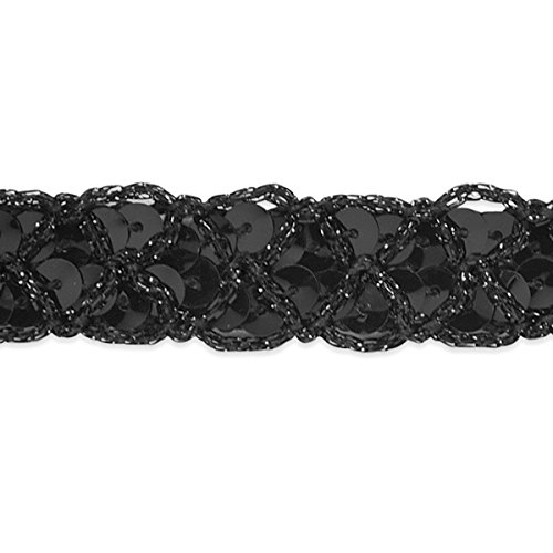 (Expo International Christina Braided Sequin Trim Embellishment, 20-Yard, Black )