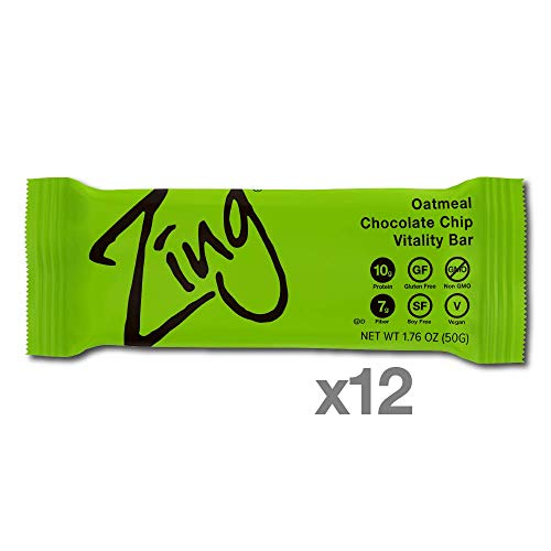 Zing Vital Energy Nutrition Bar, Oatmeal Chocolate Chip, (12 Bars), High Protein, High Fiber, Low Sugar, Real Dark Chocolate Chips, Soft Cookie Dough, Cinnamon & Apple Cinnamon Chocolate Chip Cookies