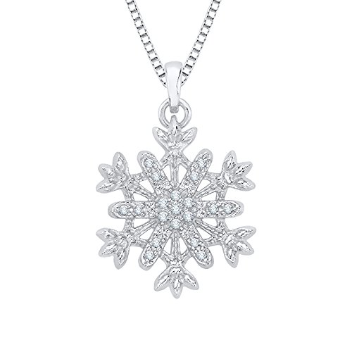 KATARINA Diamond Snow Flake Pendant Necklace in Sterling Silver (1/10 cttw) (Color-IJ, Clarity-SI2)