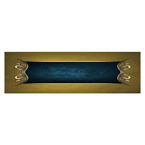 Dragonhome Aquarium Background Template for Writ Blue Name Plate with g Ornate Edges on g Background Wallpaper Fish Tank Backdrop Static Cling L29.5 x H17.7 -