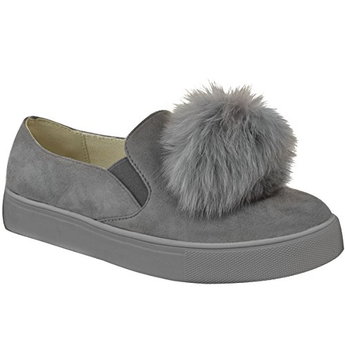 Mode Törstig Kvinna Flickor Pom Mocka Sneakers Plimsolls Platta Pumpar Skor Storleks Grå Faux Mocka