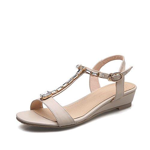 Allhqfashion Mujeres Buckle Open Toe Low-heels Solid Sandalias De Cuero De Vaca Beige