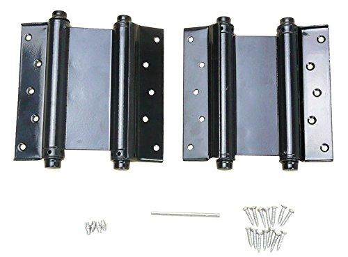 (2) 5'' Adjustable Double Action Spring Hinge Saloon Swing Door with Screws Black