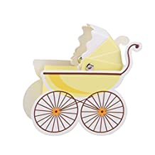 Tinksky Creative Baby Stroller Shaped Candy Boxes Cute Baby Gift Boxes 10pcs (Yellow)