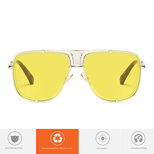 de Bmeigo Lunettes Jaune Aviator Lunettes Rétro B1 soleil Homme UV Protection Unisex Gradient qg5tw