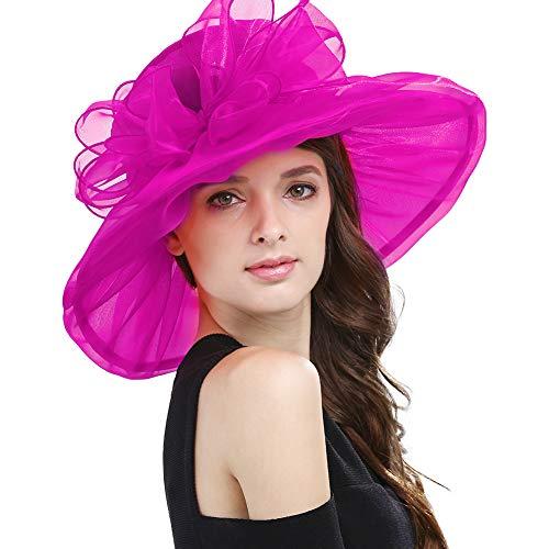 Janey&Rubbins Women's Kentucky Derby Fascinators Church Wedding Easter Tea Party Hat (Hot Pink)